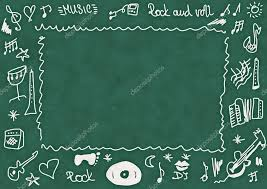 School Chalkboard Background Doodle Music School Chalkboard Background And Texture Stock Photo