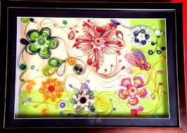Paper Quilling Flower Frames Paintings Paper Quilled Flower Art Art_2043_24165 Handpainted