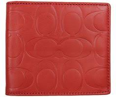 NEW COACH Mens Signature Embossed Leather Double Billfold Wallet F74078 Red  NWT