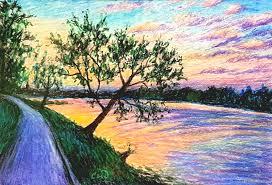 landscapes handmade livemaster handmade evening in plyos oil pastel painting