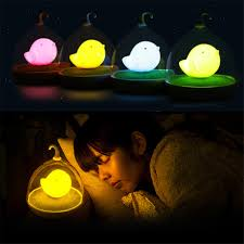 Home LED Night Lamp Kids Bedroom Table Lights Birdcage Touch ...