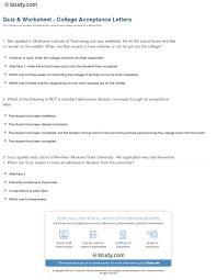 quiz worksheet college acceptance letters com print college acceptance letters process results worksheet