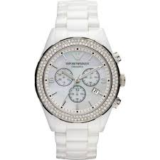 ladies armani watches from ticwatches co uk womens emporio ar1456 ladies white crystal ceramica watch