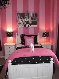 Casual Pink Stripes Wall Painted Girls Rooms Interior Decorating Design  Ideas With Pink Comforter Platform Bed Also Black Polka Dots Shade Table  Lamp And ...