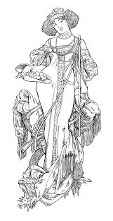 Alphonse Mucha Line Art L Automne D Alphonse Mucha B