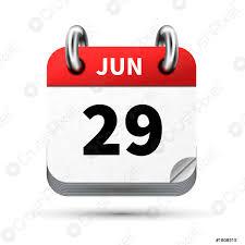 Luminoso icona realistica del calendario con 29 giugno data isolata -  vettore stock