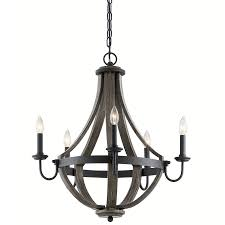 kichler merlot 5 light distressed black and wood farmhouse candle chandelier