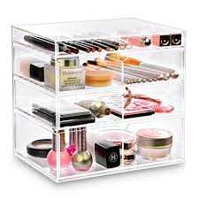 amazon ikee design premium acrylic clear cosmetics acrylic makeup drawer organizer tray office supplies holder with 4 removable drawers beauty