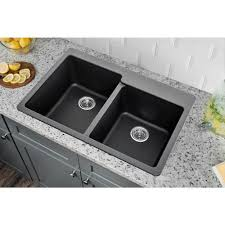 33 Quartz Double Bowl Topmount Kitchen Sink Onyx Black Ca3241l33