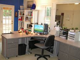 charming white office design. Charming Home Office Design With L Shape Grey Desk Table And Neat White Bookcase Decor Ideas H
