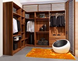 modern black and white round chair with orange fur area rug in l shaped wardrobe cabinet closet ideas and cute three drawer for shoes storage