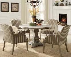 round kitchen table decor ideas. Striped Chairs And Grey Round Table For Classic Kitchen Decorating Ideas With White Fireplace Decor N