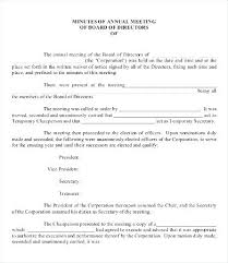 Annual Board Meeting Minutes Template Association Free Hoa