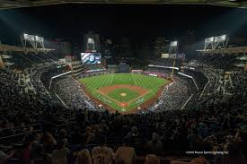 the san go padres unveiled a brand new state of the art led lighting system by musco lighting at its home opener against the los angeles dodgers on april