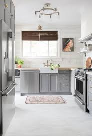 tic and welcoming grey kitchens your home kitchen floor ideas with cabinets white brick walls tiles