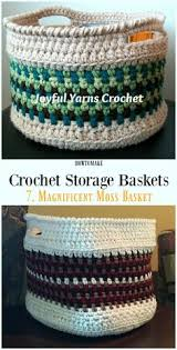 Free Crochet Basket Patterns Amazing Color Block Crochet Baskets Free Pattern Crafts Pinterest