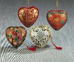 Papier Mache Christmas Ornament - Heart