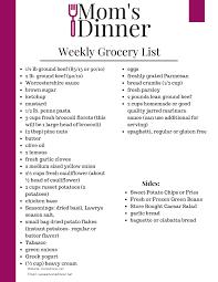 Grocery Lsit Free Weekly Meal Plan Printable Grocery List 4 Moms Dinner