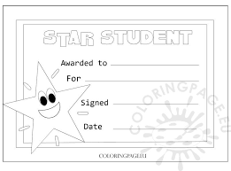 Star Student Certificates Award Certificate Star Student Coloring Page