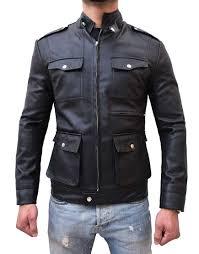mens zip up multi pocket style slim fit black faux leather jacket