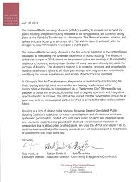 A Letter Of Support From The National Public Housing Museum