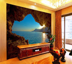Aanbieding Decoratieve Behang Zee Cave Achtergrond Muurschildering