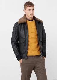 leather aviator jacket by mango men s black so340h45w