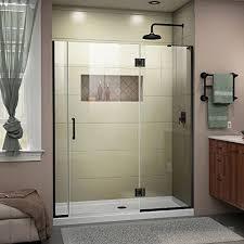 dreamline unidoor x 56 1 2 57 in w x 72 in h frameless hinged shower door