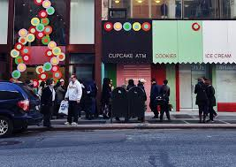 Cupcake Vending Machine Nyc Locations Beauteous Four Tines And A Napkin Dessert Sprinkles Cupcake ATM NYC