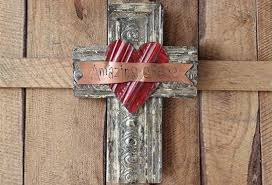 wood cross wall decor with metal amazing grace