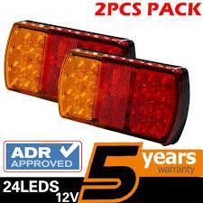2 x roadvision led trailer tail lights lamp kit 12v rectangle stop reflector