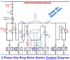control diagram 3 phase slip ring rotor starter control power diagrams
