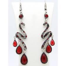 bohemian faux gem teardrop chandelier earrings red
