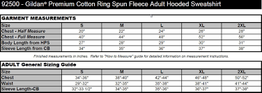 Gildan Premium Size Chart Gildan Premium Cotton Ring Spun Fleece Hooded Sweatshirt