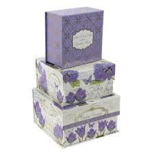 Decorative Storage Box Sets Set Of 100 Lilac Floral Storage Boxes Pretty Decorative Stacking 44