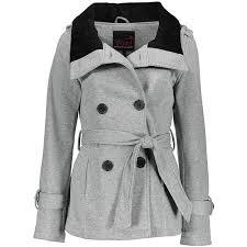 Yoki Heather Gray Belted Fleece Coat 17 Liked On