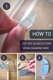 how to easily cut shape sea glass and stones using diamond wire