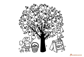 Cartoon Apple Coloring Pages Fresh Sheets Trees Valid For Tree Page