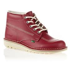 kickers kick hi womens red natural leather lace up boot