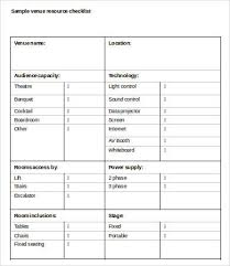 Wedding Venue Comparison Chart Venue Checklist Template 9 Free Word Pdf Documents