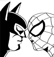 Small Picture Spiderman Batman Face to Face Coloring Pages Kids stuff