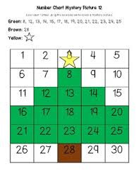 Christmas Tree December Early Math Numbers 1 30 Number Chart Mystery Picture