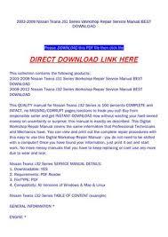 2003 2008 nissan teana j31 series workshop repair service manual Nissan Primera 2003 2008 nissan teana j31 series workshop repair service manual best download