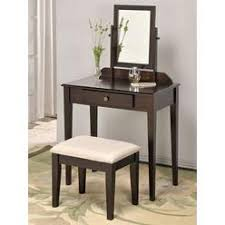 Asia Direct Espresso Finish Wood 3 Pc Bedroom Vanity Set With Mirror And  Stool