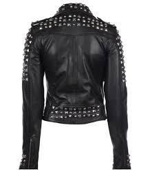 details about women black punk style studded leather jacket las fashion real soft jacket