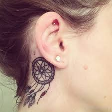 Dream Catcher Tattoo Behind Ear Dreamcatcher Tattoo On Girl Right Behind The Ear 19