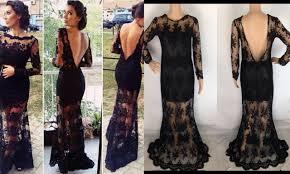 Long Black Backless Lace Dress