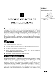 meaning and scope of political science  module 1 notes 1 meaning and scope of political science individual and the state our