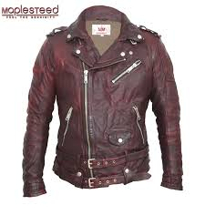maplesteed tanned leather jackets motocycle black green red vintage punk rock leather jacket men s biker coat motor clothing 145