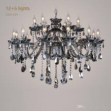europe style living room18 arms chandelier bedroom restaurant lights smoke gray crystal light ktv room lighting led crystal chandeliers globe chandelier